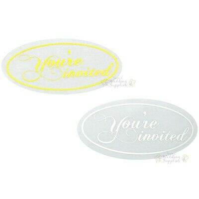 New50x Silver or Gold You're Invited Envelope Stickers Seals Wedding Invitations