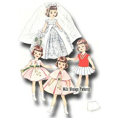 "Vtg 50s Doll Clothes Pattern Formal Gown Bridal Wedding Dress 8"" Betsy McCall"
