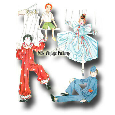 Marionettes 1930s Vintage Pattern: Clown, Ballerina, Boy ~ Edith Flack Ackley