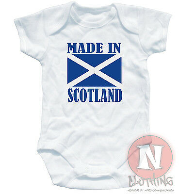 Naughtees Clothing Babygrow Made In Scotland White Cotton Baby Grow Babysuit New