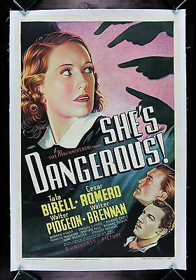 SHE'S DANGEROUS ! * CineMasterpieces ORIGINAL VINTAGE BAD GIRL MOVIE POSTER 1936