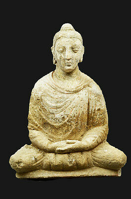 Aphrodite- Ancient Ghandaran Stucco Relief Of Buddha With Polychromy Traces