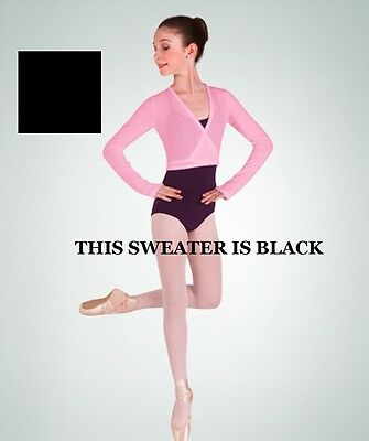 Body Wrappers 55 Black Child Small (4-6) Knitwear Wrap Sweater