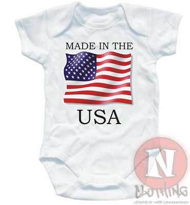 Naughtees Clothing Babygrow Made In USA White Cotton Infant Babysuit Baby New