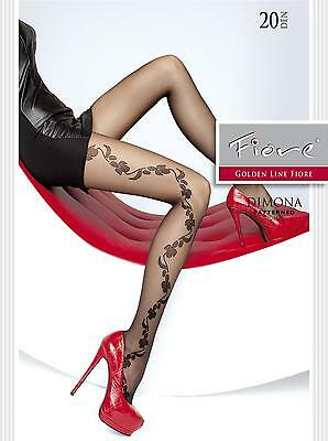 "FIORE ""DIMONA"" PATTERNED TIGHTS, FLORAL PATTERN 20 Denier"