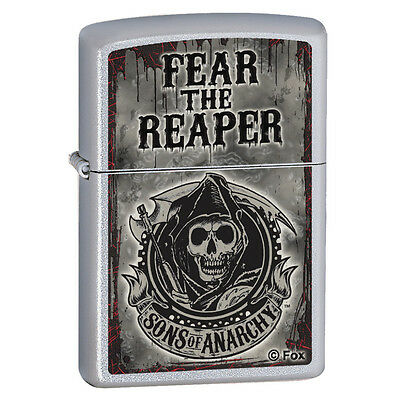 Sons of Anarchy Show Logo Fear the Reaper Satin Chrome Zippo Lighter New in Box!
