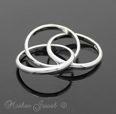 Mens Ladies Sterling Silver Filled 3 Band Trinity Russian Wedding Eternity Ring