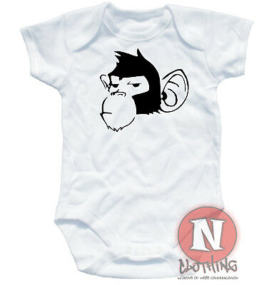 Naughtees Clothing Cheeky Chimp Banksy Stencil art Cute Babygrow Baby Suit vest