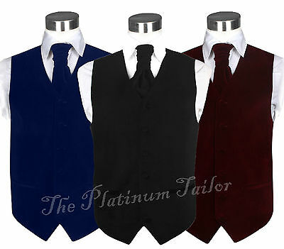 Mens Classic Velvet Waistcoat With Ascot Tie Formal Quality Vest Weddings 36-48