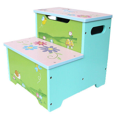 Princess Hand painted Colorful Toddler Step Stool Toy Storage Box Kids Furniture