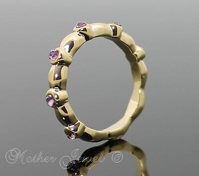 Lovely Yellow Gold Gp Ladies Girls Rose Pink Crystal Eternity Stackable Ring
