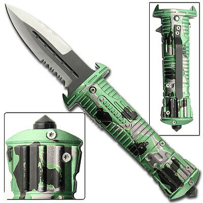 Zombie Hunter Tactical Covert Emergency Glass Breaker Spring Assist Knife