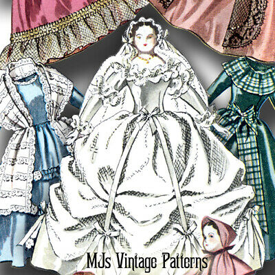 "Vtg Pattern 12"" Lady Godey Cloth Doll & SEVEN Dresses ~ Wedding, Ball Gown, Coat"