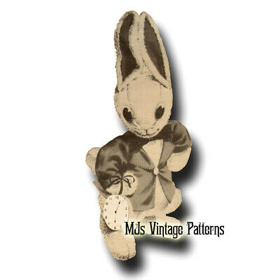Vintage Pattern for Alice in Wonderland's White Rabbit Stuffed Animal Toy