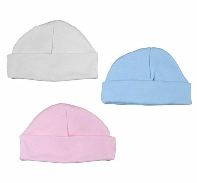 100% Cotton Baby Hat in Tiny Newborn or 0-3 Months in White, Pink or Blue