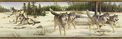 Wolf Pack on Snowy Mountain / Wolves Easy Walls Wallpaper Border HTM48472B