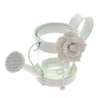 Watering Can Shaped TEALIGHT HOLDER ~ ~ ~ metal garden summer white rose flowers