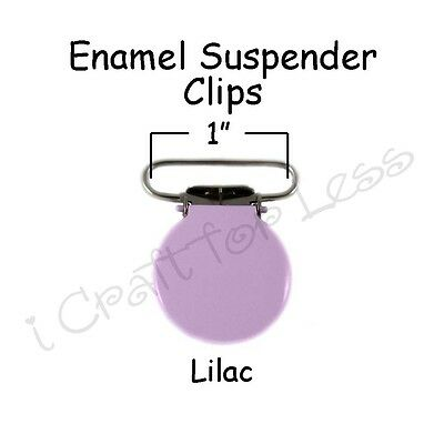 "10 Suspender Pacifier Holder Mitten Clips 1"" Lilac Enamel Round Face"