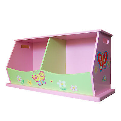 New Girls' Wooden Hand Painted Pink Flower Double Stacking Toy Storage Box Bench