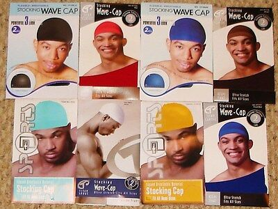 Stocking Wave Caps Spandex Knit Durag Doorag (2 Pack) Many Colors To Choose