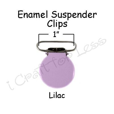 "50 Suspender Pacifier Holder Mitten Clips 1"" Lilac  Enamel Round Face"