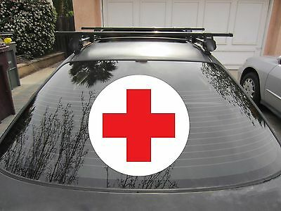 Red Cross Sticker Vinyl Decal w/ White Circle Background You Choose Size & Color