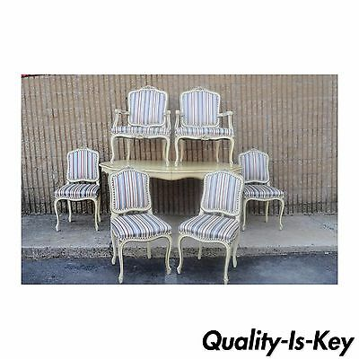 Vintage French Louis XV Provinicial Styl Dining Room Set 6 Chairs Table 3 Leaves