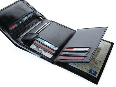 Mens Luxury Soft Quality Leather Wallet Credit Card Holder Purse Black NEW