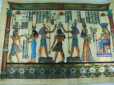 "Pharaoh Horus  Isis And Maat Original Hand Painted Papyrus 16""X24"" (40x60 Cm)"