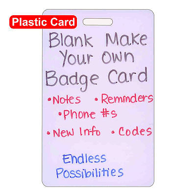 Blank Plastic Vert Make Your Own Badge ID Card Pocket Reference Nurse Paramedic