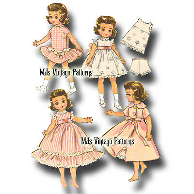 "1950s Vtg Doll Clothes Pattern 14"" Betsy McCall, Toni ~  Dress, Nightgown, Robe"