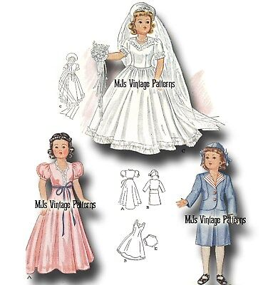 """Vintage Shirley Temple Doll Clothes Dress Pattern ~ 13"""" 14"""" Patsy, Compostion"""