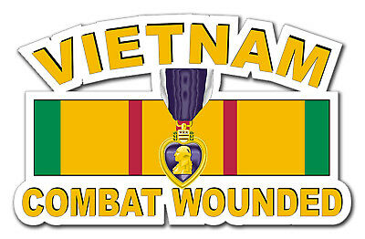 "Purple Heart Vietnam Combat Veteran 5.5"" Window Sticker Decal"