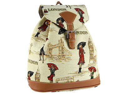 Signare Ladies Tapestry Rucksack / Backpack / Fashion Bag In Miss London Design