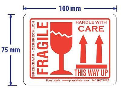 "20 Large Fragile This Way Up Handle With Care Stickers Labels 100m x 75mm 4""x3"""