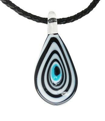 Lucky Evil Eye Murano Glass Protection Pendant in Black and White