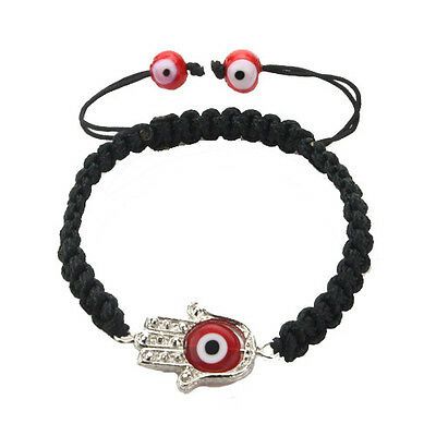 Hamsa with Evil Eye Protection Bracelet in Red and Black