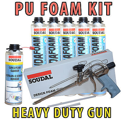Soudal Pu Expanding Foam Kit- 5 Cans 750Ml + Heavy Duty Gun+ Gun Cleaner 500Ml
