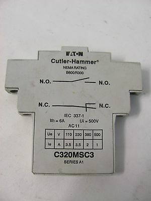 Cutler-Hammer Auxiliary Contact C320Msc3 Series A1 Nema Rating B600/r300 6A 500V
