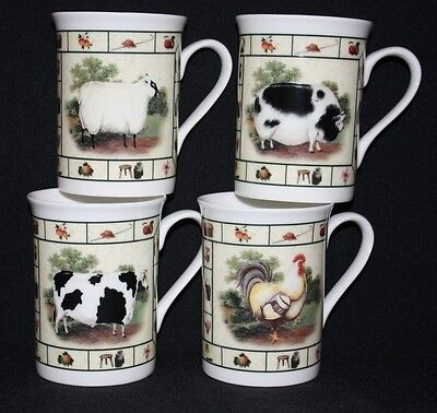 Set Of 4  Fine Bone China Farmyard Cockerel Pig Cow Sheep Mugs Cups Gift Set