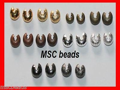 40 / 50 Crimp Bead COVERS Silver Gold Black Bronze Stardust 3mm 4mm 5mm NI Free