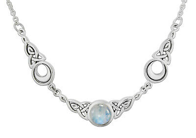"""Crescent Moon Celtic Knot Triquetra Rainbow Moonstone Wicca Goddess Necklace 18"""""""