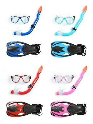 Two Bare Feet Kids 3PC Snorkel Mask and Fin Set