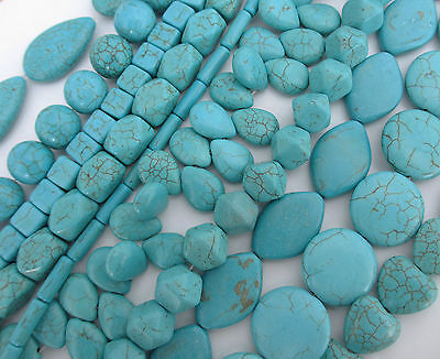 1 String of Gemstone Howlite Turquoise Beads in Different Designs & Shapes 16cm