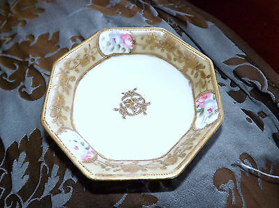 Nippon Hand Painted Octagon Berry Bowl Gold and Floral Design