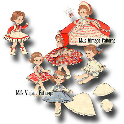 "Vtg Doll Clothes Pattern Cowgirl, Dress ~ 10"" 11"" Tiny Terri Lee, Littlest Angel"