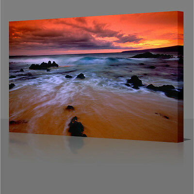 """30x20"""" Red Sea Water Sunset  Large  Framed Canvas Wall Art Picture Print"""