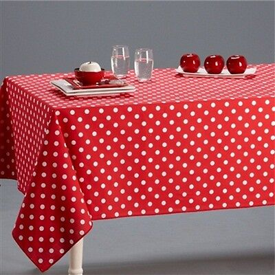 Red / White Polka Dot Pure 100% Cotton Table Cloth Cover + Napkins Linen
