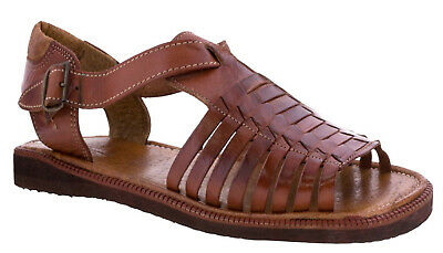 Mens Cognac Authentic Mexican Huaraches Sandals Genuine Woven Leather Open Toe
