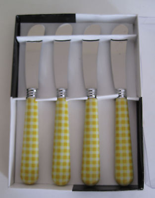 New in Box ~ Yellow & White Checkerboard Handled Pate Knives ~ Gorgeous Perfect